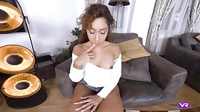 Alone chick Melody Petite just enjoys teasing her wet pussy on her own