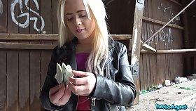 Pal pays the blonde teenager acquiescent cash for that pussy