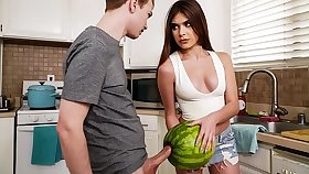StepSister Caught Her Brother Masturbating Up A Watermelon - w/ Winter Jade and Alex Jett