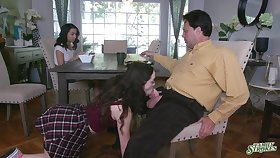 Step sisters are keen surrounding share washed out man's energized dick