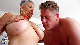 Buxomy Grandmother Enjoys Young Cock
