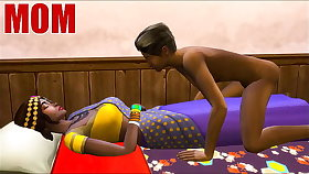 Indian Mom And Son - Visits Mother In Her Room Ans Sharing Burnish apply Same Bed