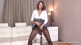 Looking enjoyable and wild sexy babe in black nylon stockings goes solo