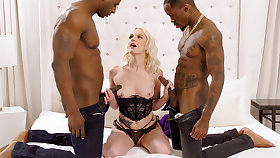 Massive dark-hued penises spread blond's cock-squeezing vag