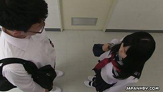 Spoiled though shy looking Asian gal Sayaka Aishiro gives a proper blowjob