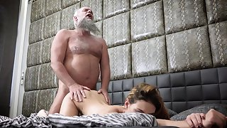 Bearded grandpa fucks Maya Crush in hardcore