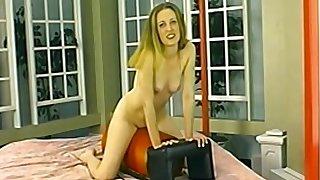 Blonde busty mature MILF rides a fuck machine hard
