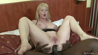 Pale amateur mature blonde Monik ass fucked hard by a black guy