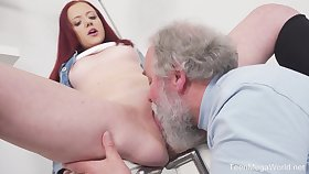 Young Tiffani Love gets fucked by a senior guy and she loves douche