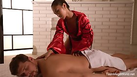 Traditional Thai massage by sexually charged masseuse here staggering body May Thai