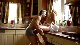 Sexy housewife Dido Angel is sexual intercourse with her tighten one's belt early in get under one's morning