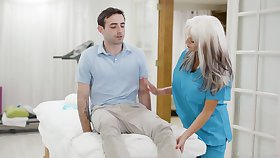 Converse dropping mature nurse Sally Dangelo is making out young patient